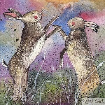 Boxing Hares Greetings Card
