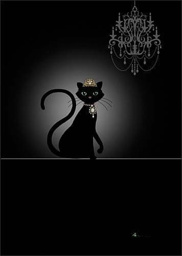 Cat and Chandelier Greetings Card