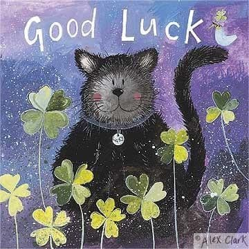 Cat and Clover Greetings Card