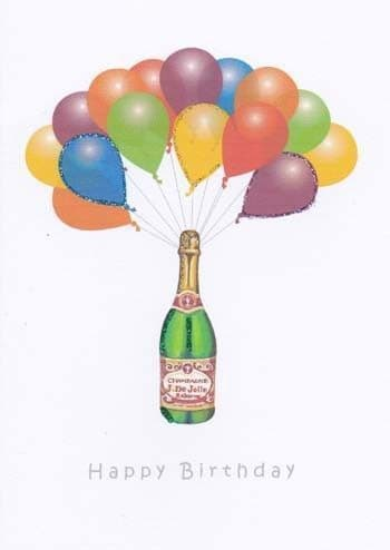 Champagne and Balloons Birthday Card