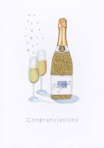 Gold Bottle Greetings Card
