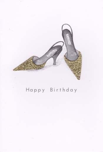 Gold Pointed Shoes Birthday Card
