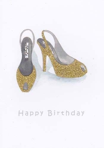Gold Rounded Shoes Birthday Card