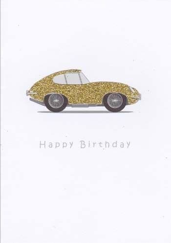 Gold Sports Coupe Birthday Card
