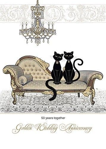 Golden Anniversary Chaise Greetings Card