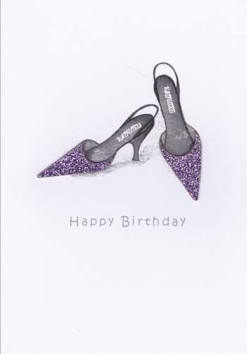 Lilac Pointed Shoes Birthday Card
