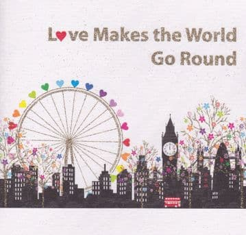 Love makes the world go round (Red Bus) Greetings Card