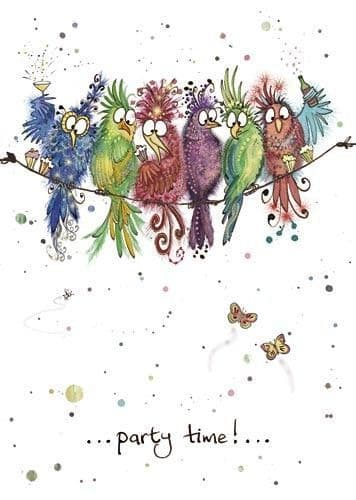 Party Birds Greetings Card