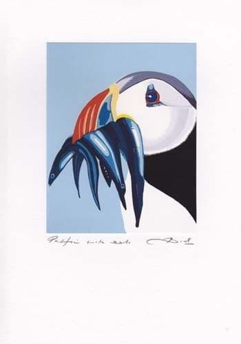 Puffin with Eels Greetings Card