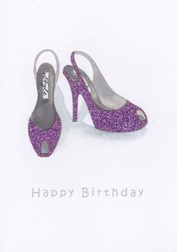 Purple Rounded Shoes Birthday Card