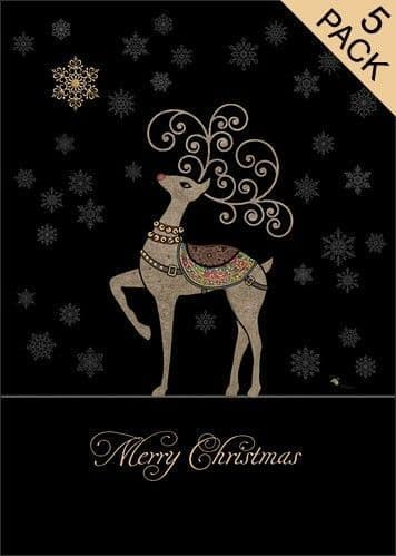 Rudolph and Snowflakes 5pk Greetings Card