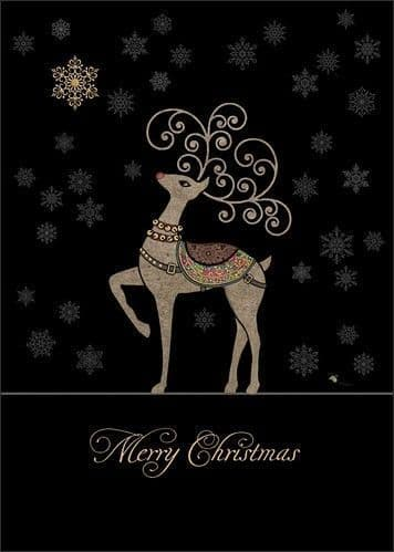Rudolph and Snowflakes Greetings Card