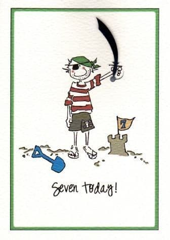 Seven Today (Male) Birthday Card