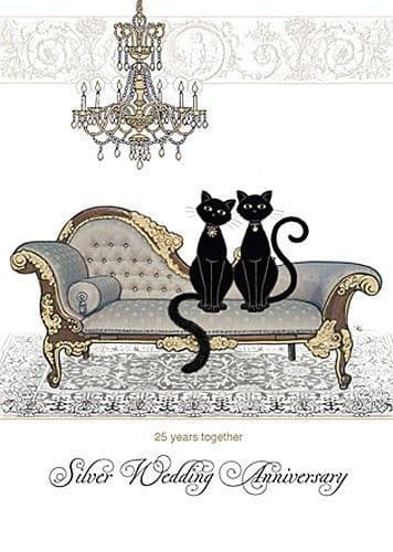 Silver Anniversary Chaise Greetings Card