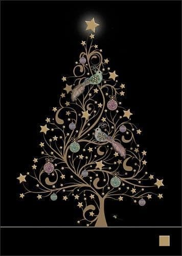 Star Tree and Birds Greetings Card