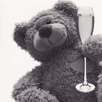 Teddy and Drink Greetings Card
