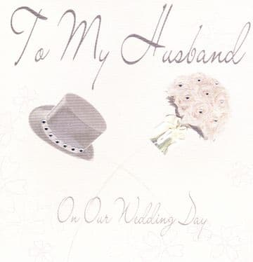 To My Husband on our Wedding day (large) Greetings Card