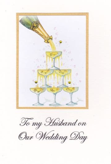 To my Husband on our Wedding Day (Champagne Tower ) Greetings Card