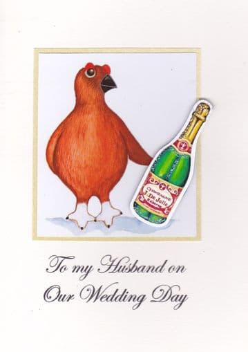 To my Husband on our Wedding Day (Grouse) Greetings Card
