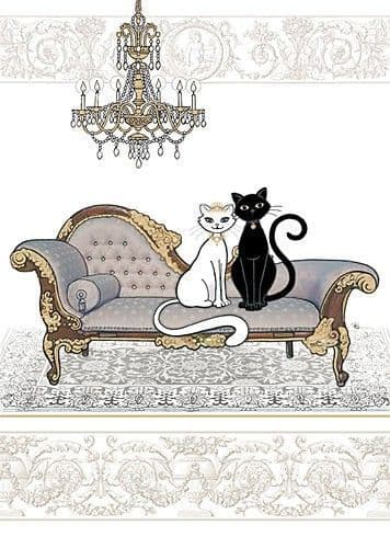Two Cats on a Chaise Greetings Card