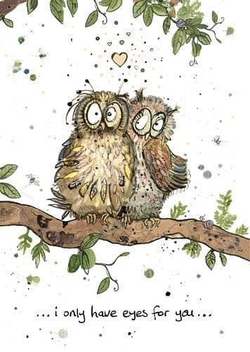 Two Owls Greetings Card