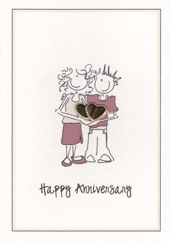 Golden Hearts Anniversary Greetings Card