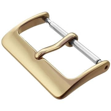 10mm Gold/Gilt Plated Stainless Steel Watch Strap Buckle