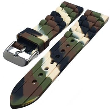 Camoflage Soft Touch Silicone Bracelet Divers Watch Strap Size 18mm-24mm