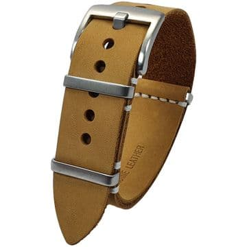 NATO G10 Beige Tan Suede Leather Watch Strap Band Size 20mm-22mm