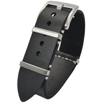 NATO G10 Black Leather Watch Strap Band Size 20mm-22mm