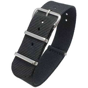 NATO G10 Black Nylon Watch Strap Band Stainless Steel Buckle Size 16mm-24mm