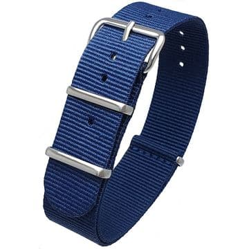 NATO G10 Blue Nylon Watch Strap Band Stainless Steel Buckle Size 16mm-24mm