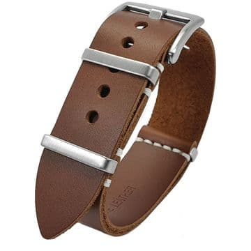 NATO G10 Brown Leather Watch Strap Band Size 20mm-22mm