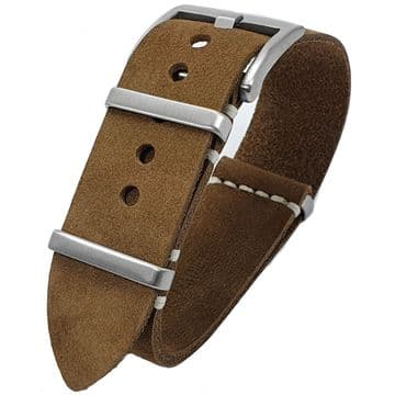 NATO G10 Brown Suede Leather Watch Strap Band Size 20mm-22mm
