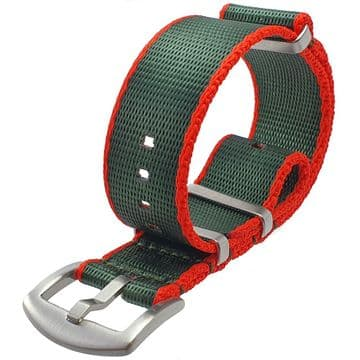 NATO G10 Seat Belt Weave Green & Red Nylon Watch Strap Band Size 20mm-22mm