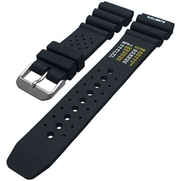 ND Limits Black Silicone Divers Watch Strap Size 18mm-24mm