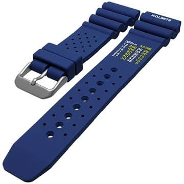 ND Limits Blue Silicone Divers Watch Strap Size 18mm-24mm