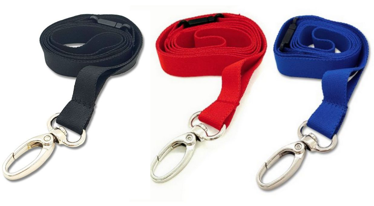 DELUXE  -  NECK STRAP LANYARD ID CARD BADGE HOLDER LOBSTER CLIP  15mm