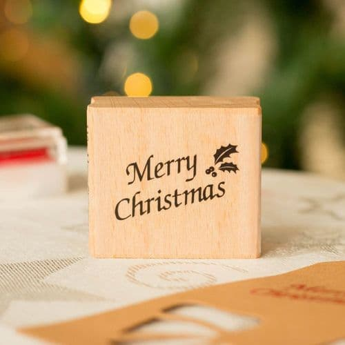 'Merry Christmas' with Holly Wood Mounted Rubber Craft Stamp