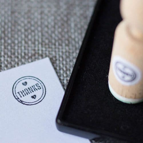 'Thanks' Rubber Stamp - VERY MINI - Craft / Scrapbooking / Stamping