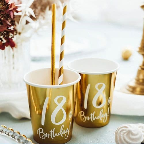 18th Birthday Gold Paper Party Cups Decorations x 6
