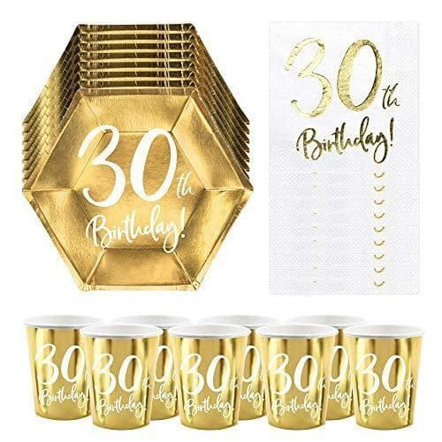 30th Birthday Party Pack | 6 Gold Plates | 6 Gold Paper Cups | 20 Paper Napkins