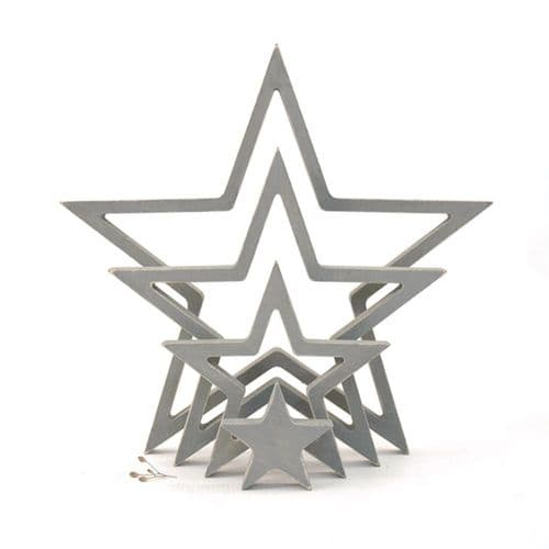 4 East of India Hanging Wooden Outline Star Grey Home Decoration