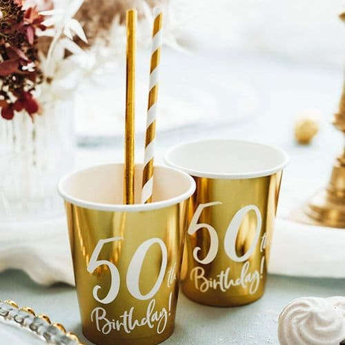 50th Birthday Gold Paper Party Cups Decorations x 6