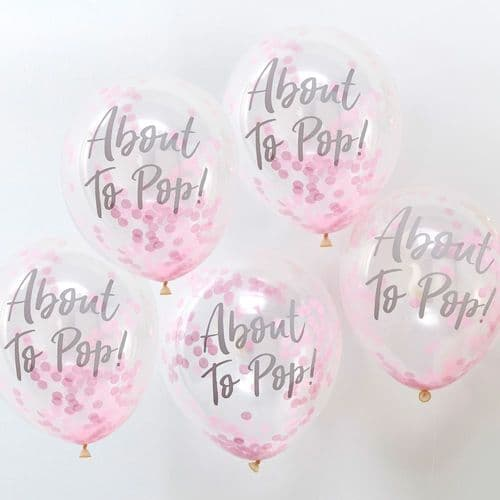 ABOUT TO POP! Printed Pink Confetti Balloons x 5 OH BABY Shower Girl!