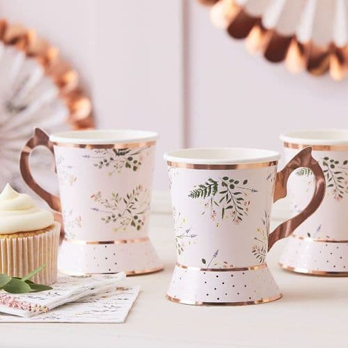 Afternoon Tea Party Paper Cups Floral x 8