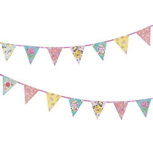 Truly Scrumptious Vintage Floral Paper Bunting, Floral Wedding Garland Decorations, Alice In Wonderand Tea Party Bunting, Birthday Tea  X 4m