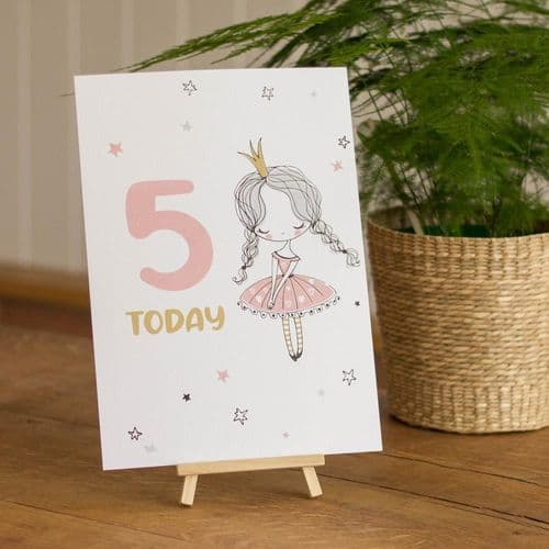 Ballerina Age 5 Birthday Sign and Easel