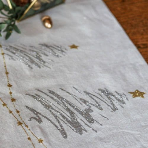 Beige Table Runner with Gold and Silver Tree 3m