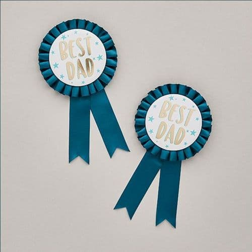 Best Dad Fathers Day Teal Rosette Badge x 1